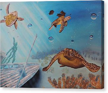 Canvas Print featuring the painting Turtles At Sea by Dianna Lewis