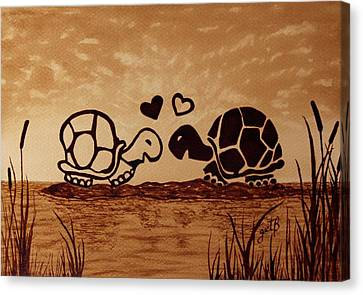 Turtles Love Coffee Painting Canvas Print by Georgeta  Blanaru