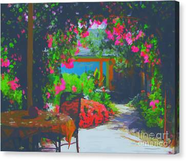 Canvas Print featuring the painting Tuscan Courtyard by Tim Gilliland
