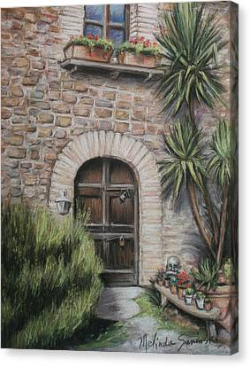 Tuscan Doorway La Parrina Canvas Print by Melinda Saminski