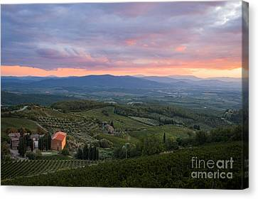 Tuscan Farmhouse Landscape In Evening Light Canvas Print by Peter Noyce