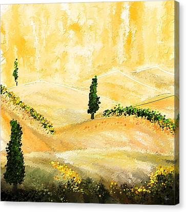Tuscan Glow- Tuscan Impressionist Paintings Canvas Print by Lourry Legarde