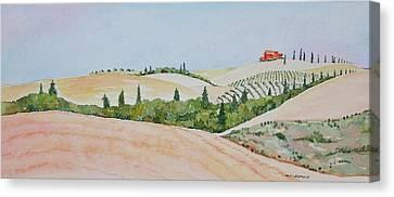 Tuscan Hillside One Canvas Print by Mary Ellen Mueller Legault