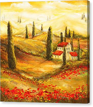 Tuscan Poppies - Tuscan Poppy Fields Impressionist Canvas Print by Lourry Legarde