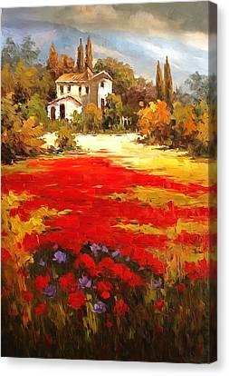 Tuscan Poppy Fields  Canvas Print by Studio Artist