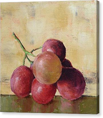 Canvas Print featuring the painting Tuscan Red Globe Grapes by Pam Talley