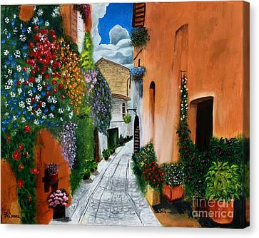 Canvas Print featuring the painting Tuscan Street Scene by Bev Conover