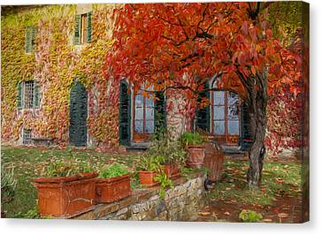 Tuscan Villa In Autumn Canvas Print