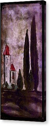 Tuscan Village Landscape With Cypress Trees Fine Art Print Canvas Print by Laura Carter