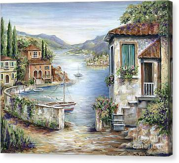 Mountain View Canvas Print - Tuscan Villas By The Lake by Marilyn Dunlap