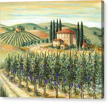 Wine Scene Canvas Print - Tuscan Vineyard And Villa by Marilyn Dunlap