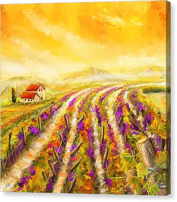 Purple Grapes Canvas Print - Tuscan Vineyard Sunset - Vineyard Impressionist Paintings by Lourry Legarde