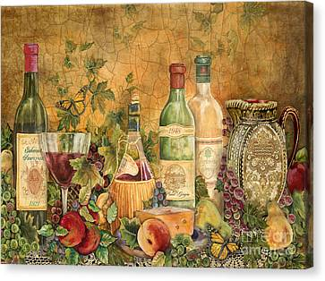 Tuscan Wine Treasures Canvas Print by Jean Plout