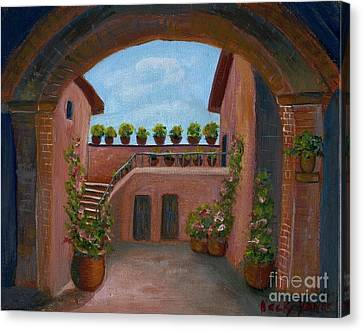 Canvas Print featuring the painting Tuscany Arch by Becky Lupe