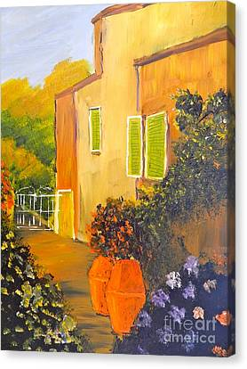 Canvas Print featuring the painting Tuscany Courtyard by Pamela  Meredith