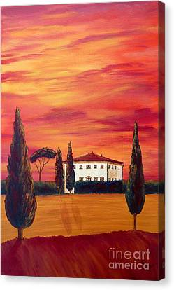Tuscany In Red Canvas Print by Christine Huwer