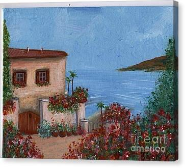 Canvas Print featuring the painting Tuscany View by Becky Lupe