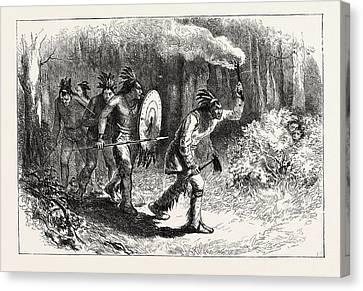 Tuscaroras Indians Tracking Fugitives Canvas Print