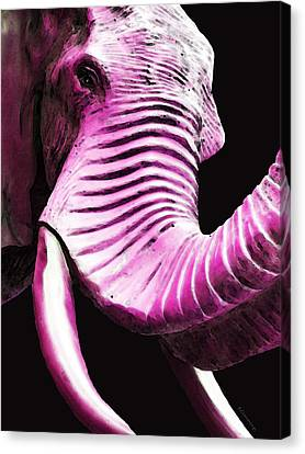 Tusk 2 - Pink Elephant Art Canvas Print by Sharon Cummings