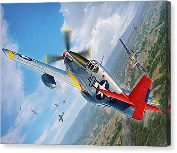Fighter Canvas Print - Tuskegee Airmen P-51 Mustang by Stu Shepherd