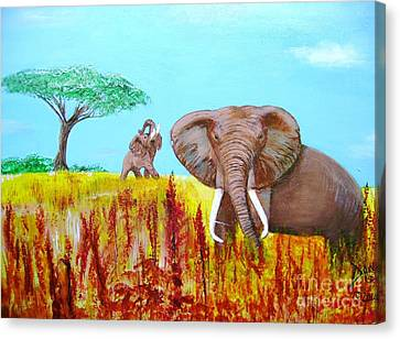 Canvas Print featuring the painting Tusks2 by Donna Dixon