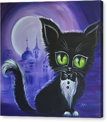 Canvas Print featuring the painting Tuxedo Cat by Agata Lindquist