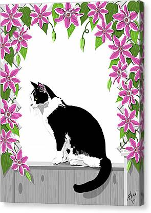 Tuxedo Cat And Clematis Canvas Print