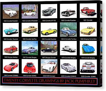 Twenty Corvettes Canvas Print by Jack Pumphrey
