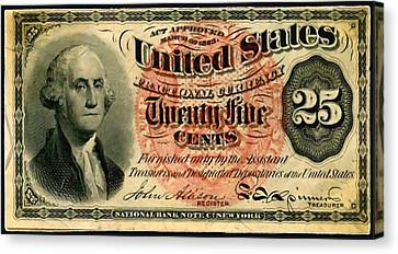 Twenty Five Cent 4th Issue U.s. Fractional Currency Fr 1302 Canvas Print by Lanjee Chee