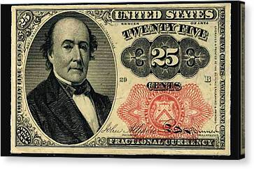 Twenty Five Cents 5th Issue U.s. Fractional Currency Canvas Print by Lanjee Chee