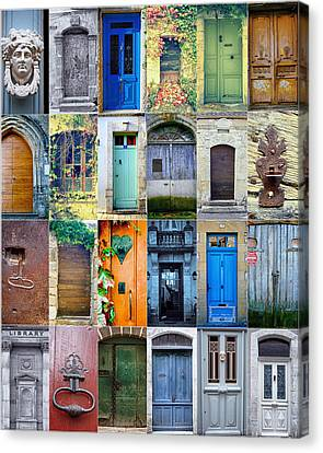 Twenty Four French Doors Collage Canvas Print
