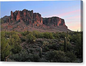 Twighlight At The Superstition Mountains Canvas Print