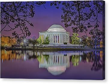 Twilight At The Thomas Jefferson Memorial  Canvas Print by Susan Candelario