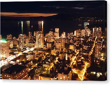 Canvas Print featuring the photograph Twilight English Bay Vancouver Mdlxvii by Amyn Nasser