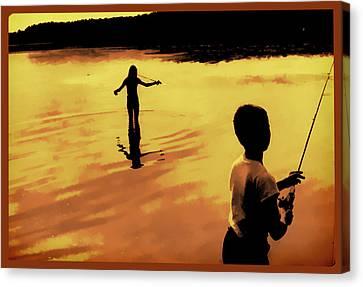 Twilight Fishing Canvas Print by John Hansen