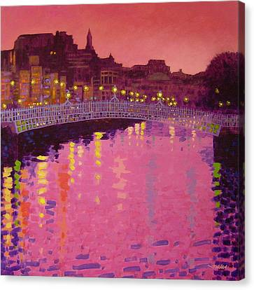 Twilight - Ha' Penny Bridge Dublin Canvas Print by John  Nolan