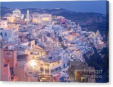 Twilight In Santorini Canvas Print by Aiolos Greek Collections