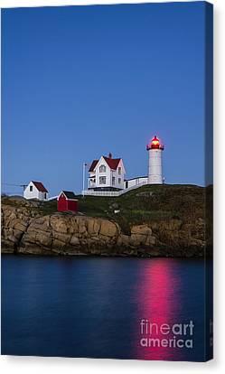 Twilight Nubble Lighthouse Canvas Print by John Greim