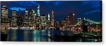 D700 Canvas Print - Twilight Nyc Panorama by Mitchell R Grosky