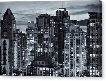 Canvas Print featuring the photograph Twilight On Cityscape Of Vancouver Overlooking English Bay - Greeting Card by Amyn Nasser