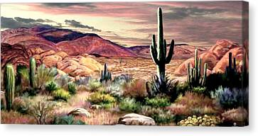 Twilight On The Desert  2 Canvas Print by Ron Chambers