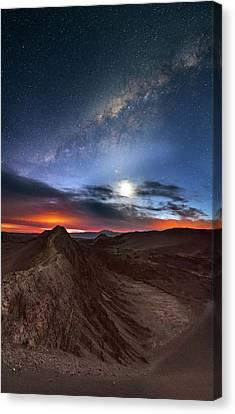 Valley Of The Moon Canvas Print - Twilight Over Valle De La Luna by Babak Tafreshi