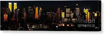 Canvas Print featuring the photograph Twilight Reflections On New York City by Lilliana Mendez