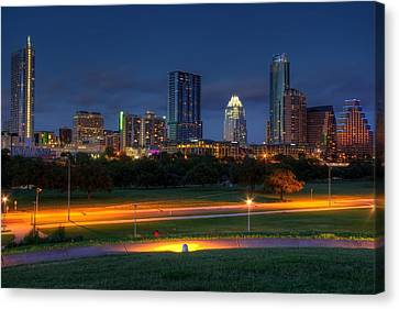 Canvas Print featuring the photograph Twilight Skyline by Dave Files
