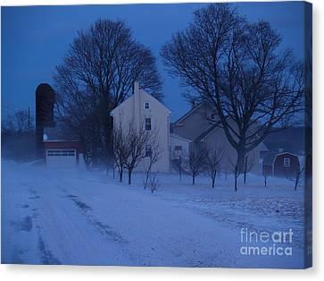 Twilight Snow On Bauman Road Canvas Print by Anna Lisa Yoder