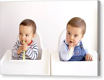 Twin Baby Boys Playing With Spoons Canvas Print by Aj Photo