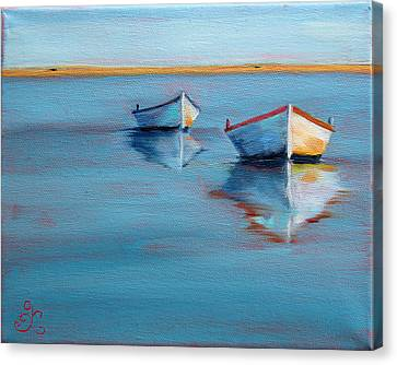 Twin Boats II Canvas Print by Trina Teele