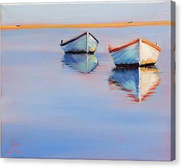 Twin Boats Canvas Print by Trina Teele