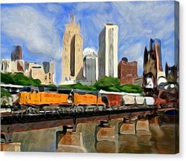 Twin Cities Train Canvas Print by Dennis Buckman