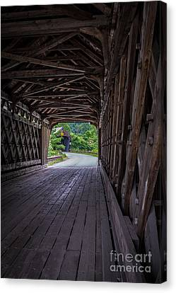 Twin Covered Bridges North Hartland Vermont Canvas Print by Edward Fielding